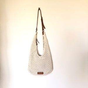 Lucky Brand large knit hobo bag cream boho style